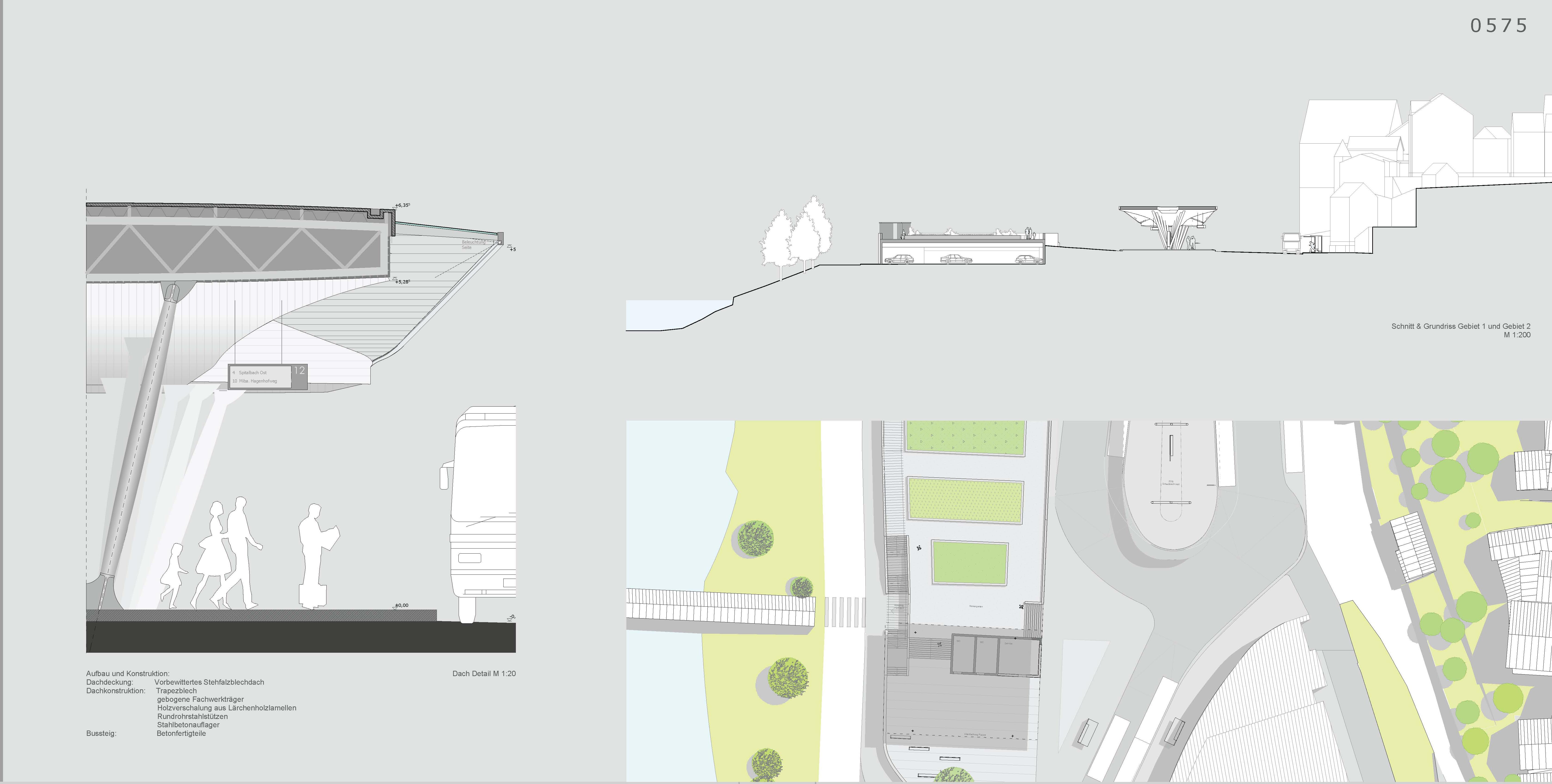 Lageplan, Fassadenschnitt, Zentraler Omnibusbahnhof, Schwäbisch Hall