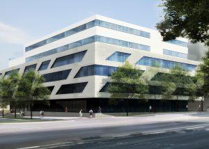 Blick von der Straße aus auf die Hochschule für Technik – Stuttgart