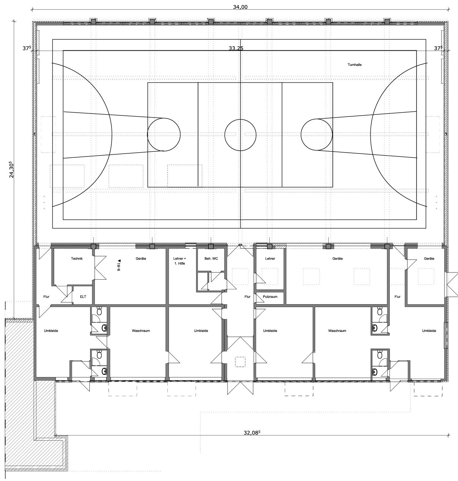 Sporthalle, Grundriss, Nordgrundschule, Berlin