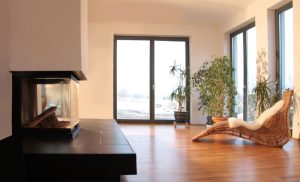 Wohnzimmer mit Kamin, Haus Reda