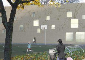 Fassadengestaltung Basketballplatz, Emanuel Lasker Grundschule