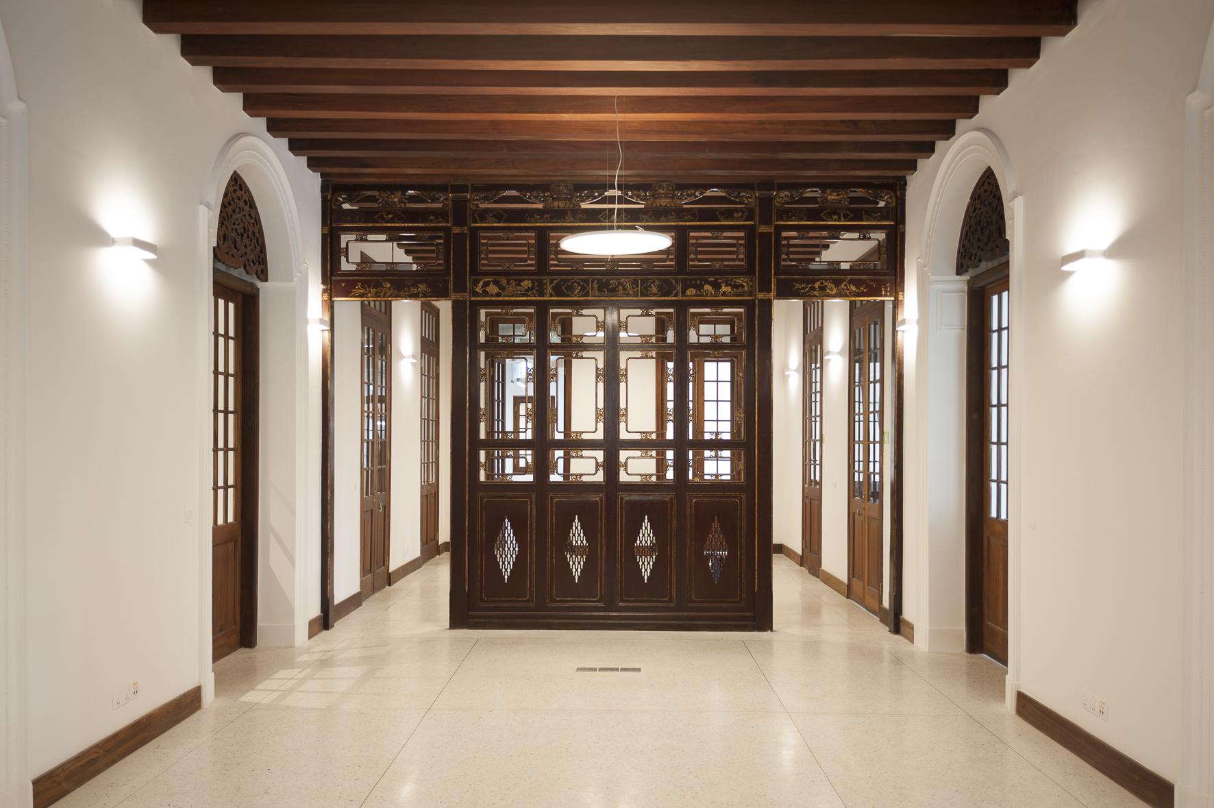Alte Villa, Flur mit historischen Elementen, Goethe Institut Yangon – Myanmar