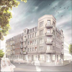 Rendering, Fassadenansicht, Bergmannstraße, Dresden