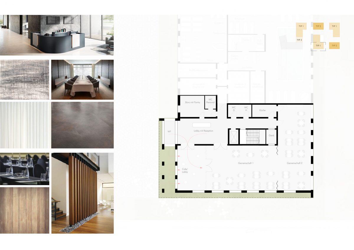 Materialien, Erdgeschoss, Seniorenresidenz Duisburg