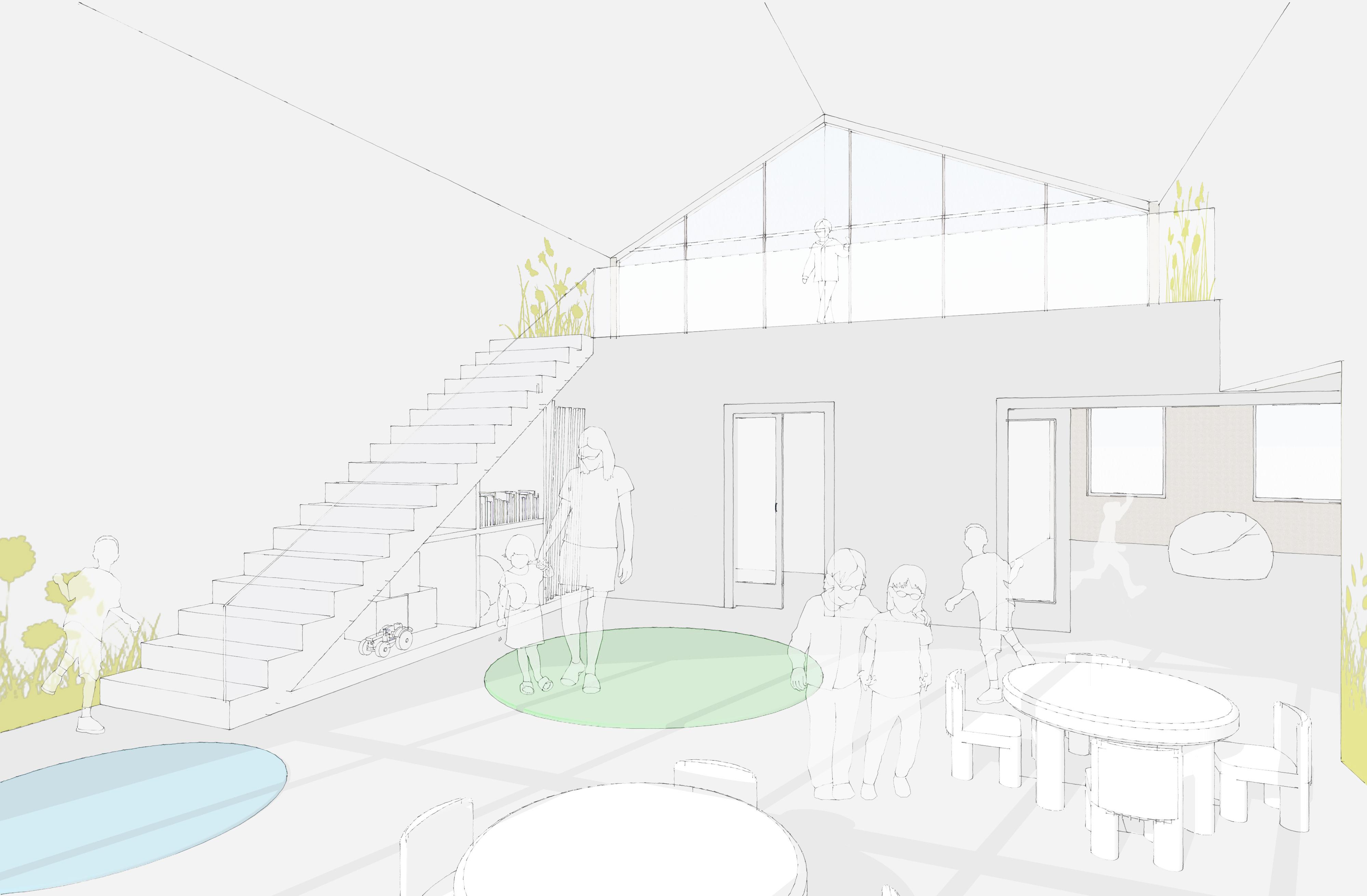 Innenraumperspektive, Kindertagesstätte, Großenhain